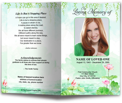 Water Lilies Watercolor Funeral Program Template