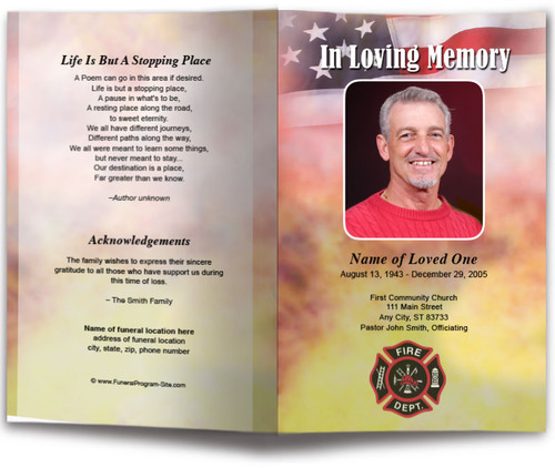 Firefighter Funeral Program Template front