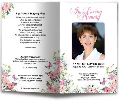 Charisma Watercolor Funeral Program Template