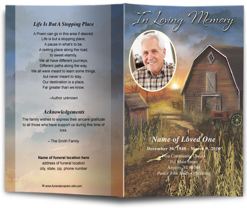 Barn Funeral Program Template