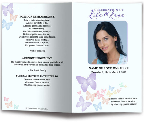 Butterfly Fusion Watercolor Funeral Program Template