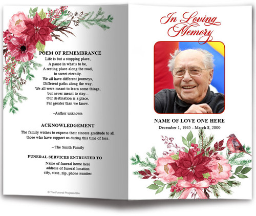 Christmas Floral Watercolor Funeral Program Template