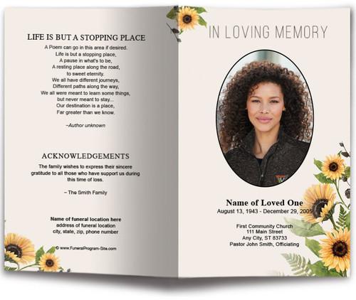 Black Eyes Susan Watercolor Funeral Program Template