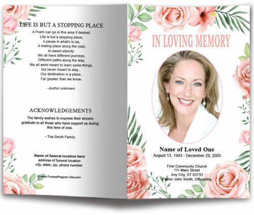 Blush Watercolor Funeral Program Template