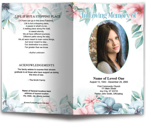 Willow Watercolor Funeral Program Template