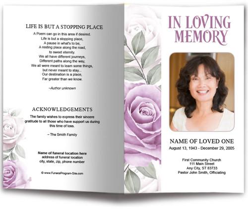 Rosette Watercolor Funeral Program Template
