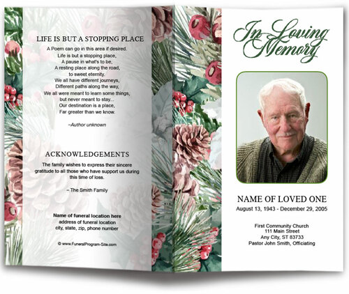 Pinecone Watercolor Funeral Program Template