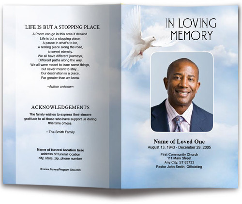 Dove of Peace Funeral Program Template