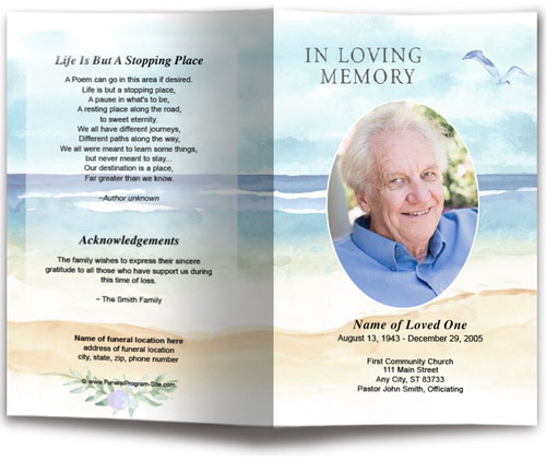 Beach Watercolor Funeral Program Template