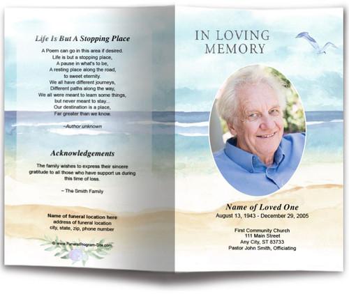 Beach Watercolor Funeral Program Template