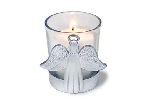 Metal Angel Memorial Votive Holder With Candle