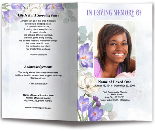 Freesia Watercolor Funeral Program Template