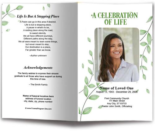 Fallen Leaf Funeral Program Template