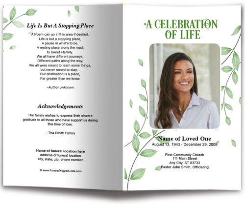 Fallen Leaf Funeral Program Template
