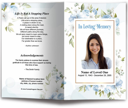 Blue Blossom Watercolor Funeral Program Template