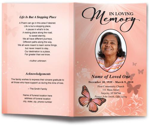 peach Butterfly Funeral Program Template