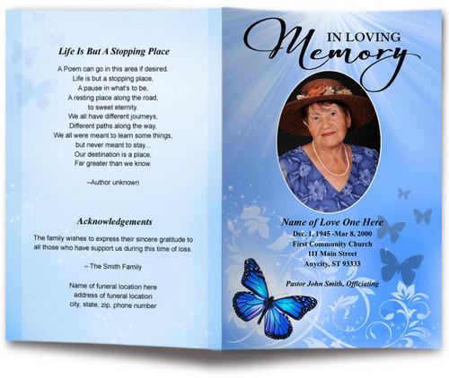 blue Butterfly Funeral Program Template