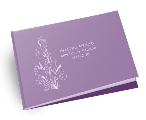 Floral Blossom Landscape Linen Funeral Guest Book