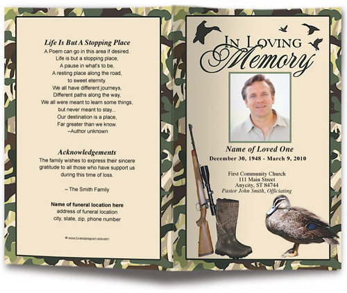 Camouflage Funeral Program Template