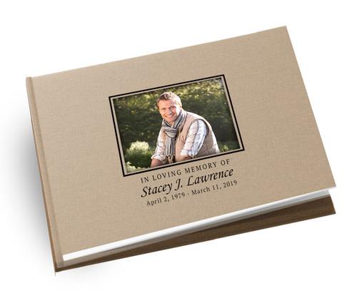 Cadence Landscape Linen Funeral Guest Book
