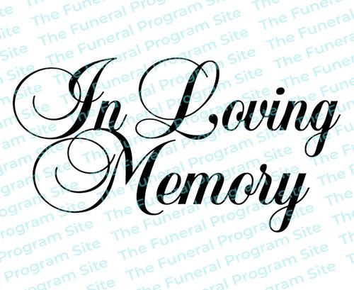 In Loving Memory Funeral Program Title 2 Lines