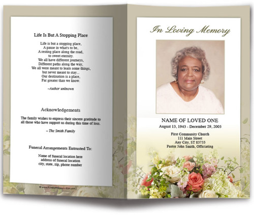 Botanical Funeral Program Template