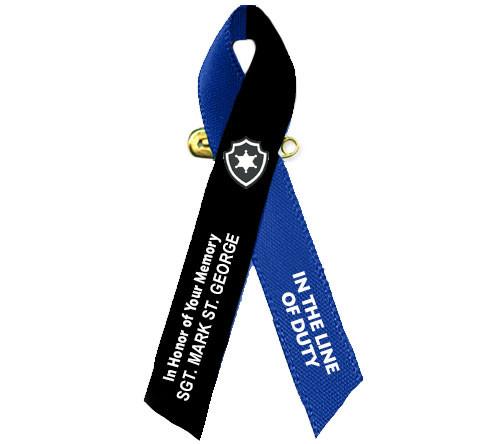 Black Navy Awareness Ribbon Police Officer