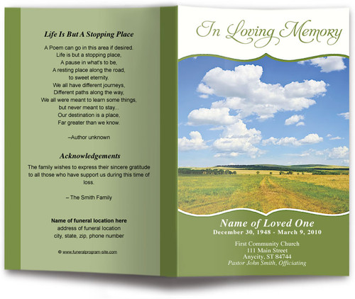 Country Funeral Program Template