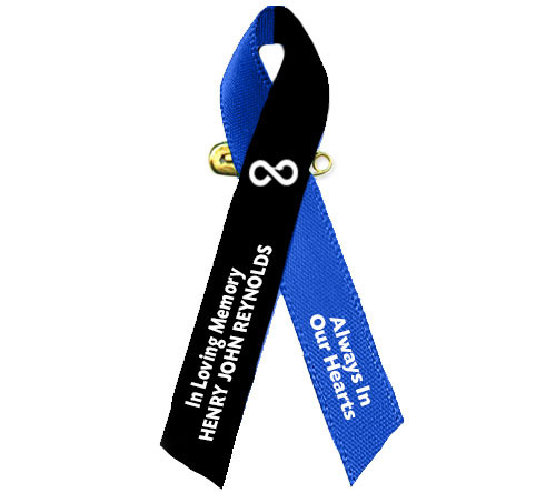 Black Blue Awareness Ribbon Loss of A Male Loved One