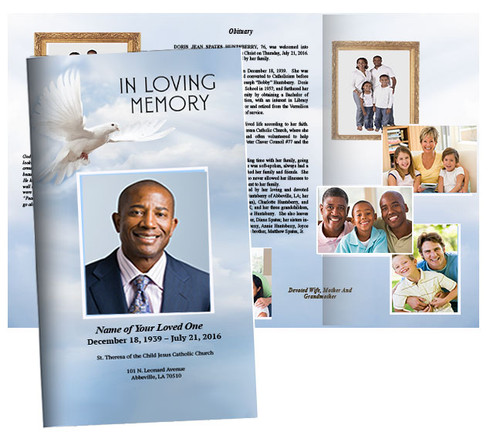 Dove of Peace Large Trifold Funeral Brochure Template