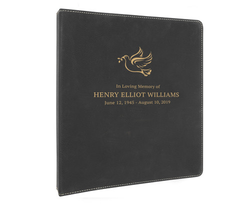 Leatherette Suede Dove of Peace 3-Ring Binder Funeral Guest Book Black with gold lettering