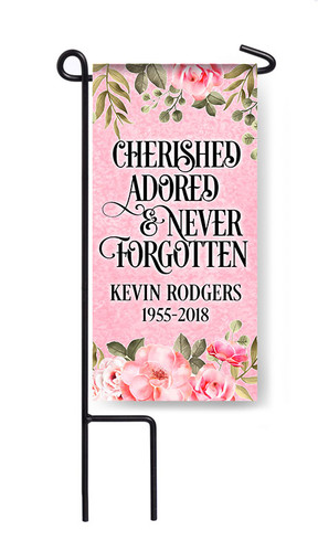 Personalized Cherished Mini Memorial Flag With Stand