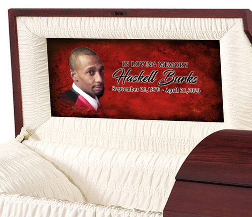 Red Passion Personalized Casket Panel Insert