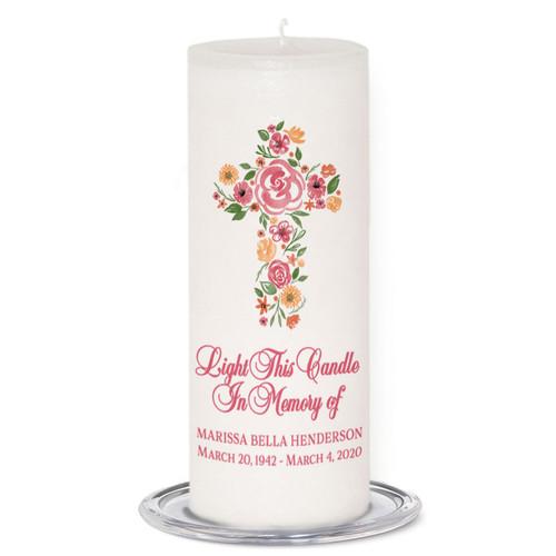 Flowers Cross Memorial Wax Pillar Memory Candle (3x9)