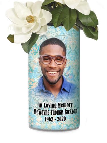 In Loving Memory Memorial Photo Flower Vase - Teal Florals