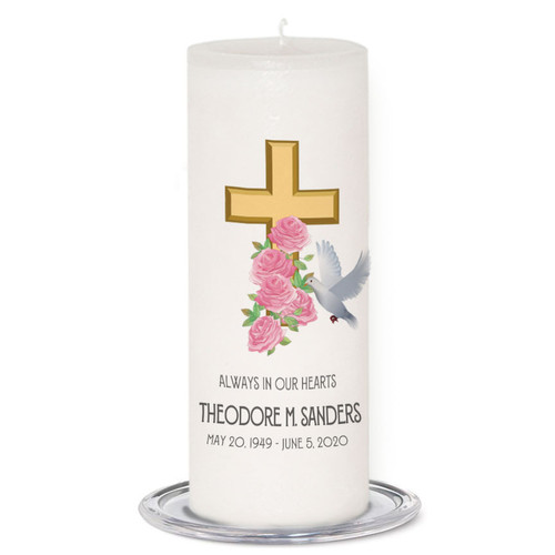 Cross Dove Memorial Candle Wax (3x9) front view