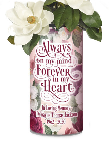 Memorial Photo Flower Vase In Loving Memory - Tropical Flowers