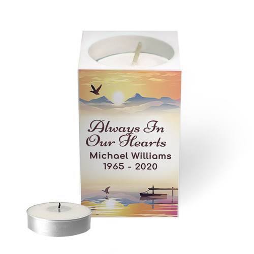 Personalized Mini Memorial Tea Light Candle Holder - Sunset Horizon