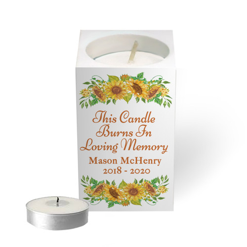Personalized Mini Memorial Tea Light Candle Holder - Sunflowers