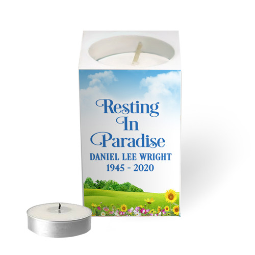 Personalized Mini Memorial Tea Light Candle Holder - Outdoor Life Your image was added to the product.