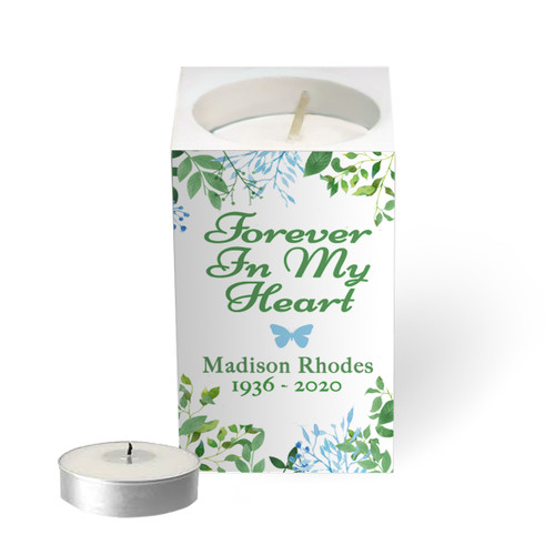 Personalized Mini Memorial Tea Light Candle Holder - Fresh Gardens