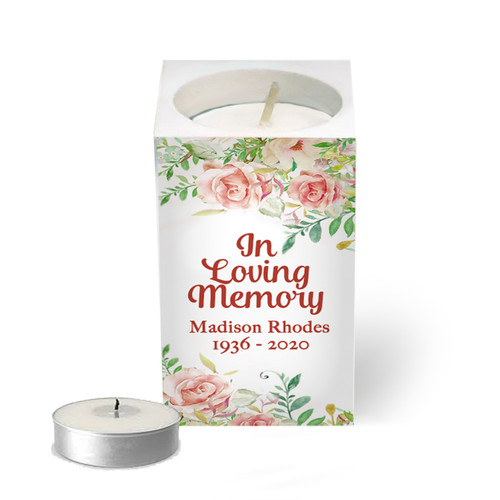 Personalized Mini Memorial Tea Light Candle Holder - Spring Florals