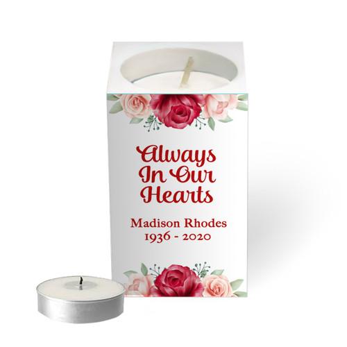 Personalized Mini Memorial Tea Light Candle Holder - Elegant Floral