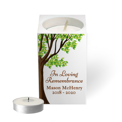 Personalized Mini Memorial Tea Light Candle Holder - Oak Tree