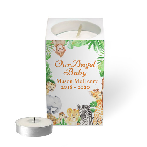 Personalized Mini Memorial Tea Light Candle Holder - Jungle Friends