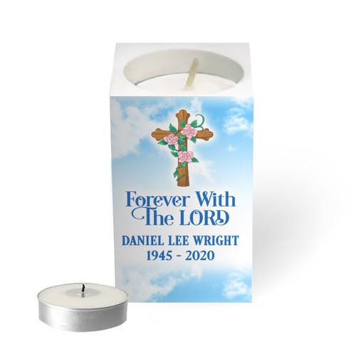 Personalized Mini Memorial Tea Light Candle Holder - Cross of Faith