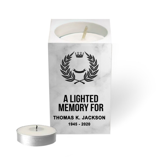 Personalized Mini Memorial Tea Light Candle Holder - Faux Marble