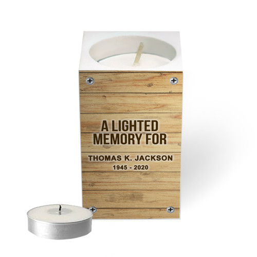 Personalized Mini Memorial Tea Light Candle Holder - Faux Wood