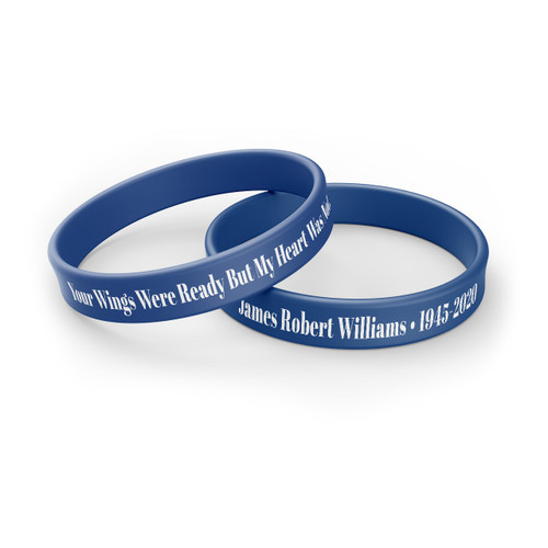Personalized In Loving Memory Silicone Bracelet - Wings Were Ready blue