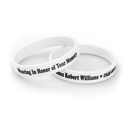 Personalized In Loving Memory Silicone Bracelet - Honor Your Memory white